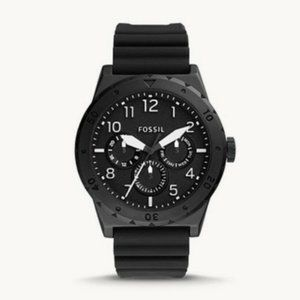 Fossil Men's Multifunction Black Silicone Watch.